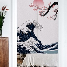 Cloth Door-Curtain Mountain-Fuji-Scene Japanese-Style Screens Partition Decorative Fabric