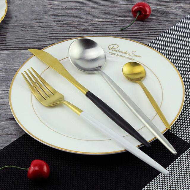 Stainless Steel Cutlery Noble Fork Knife Dessert Dinnerware Tableware Gold Silver Black Coffee