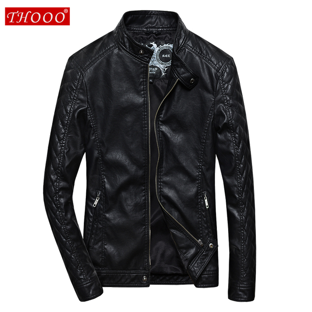 2016 New Brand THOOO Mens Black Solid Plaid Style Full Sleeve PU Motor Jackets Metal Button And Zipper