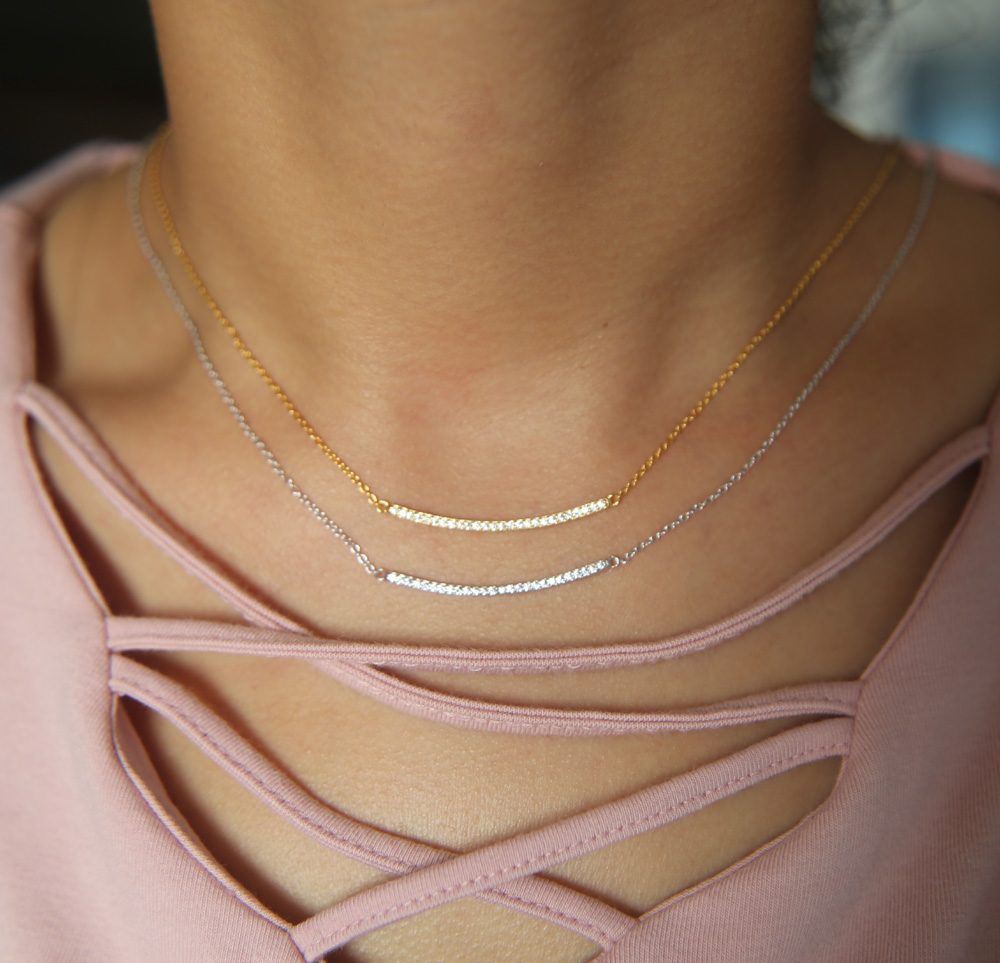 promotion classic simple jewelry cz line curve bar three color AAA cubic zirconia top quality bar necklace for women sale