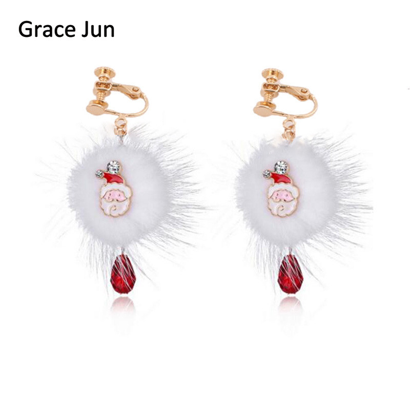 Grace Jun 2017 New Santa Claus Deer Rabbit Fur Ball Red Crystal Clip on Earrings Without Piercing for Women Cute Christmas Gift
