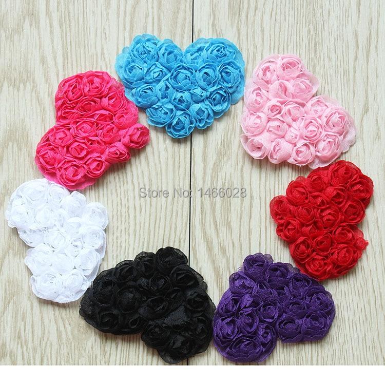 16 ярдов/Лот, 2,5 ''головная повязка для новорожденных потертое розовое сердце, потертое сердце, потрепанные шифоновые цветы
