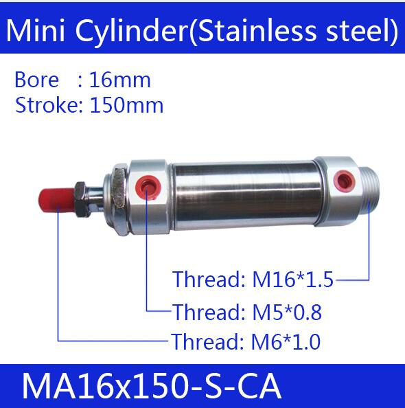 Free shipping Pneumatic Stainless Air Cylinder 16MM Bore 450MM Stroke , MA16X450-S-CA, 16*450 Double Action Mini Round Cylinders free shipping pneumatic stainless air cylinder 16mm bore 200mm stroke ma16x200 s ca 16 200 double action mini round cylinders