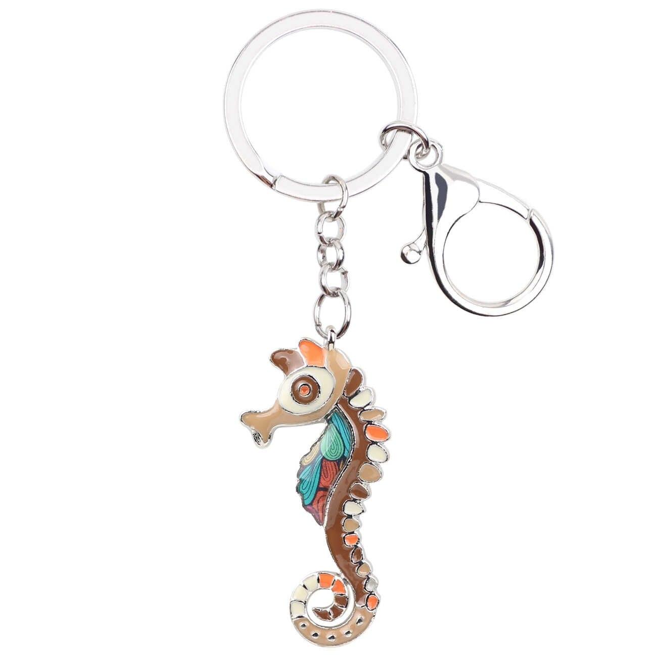 Bonsny المينا الحصين البحر الحصان يد حقيبة سحر مفتاح سلسلة مفتاح حلقة المفاتيح الموضة المحيط الحيوان مجوهرات للنساء
