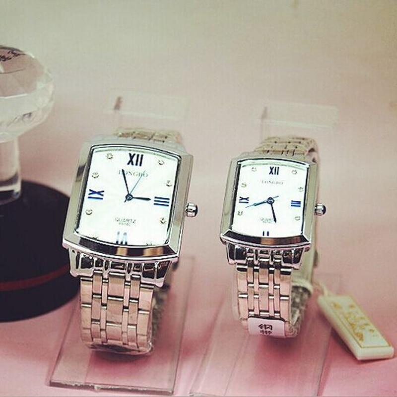 Fashion Longbo Brand Square Quartz Watch Full Stainless Steel JP Movement Lovers Man Woman Gift Quartz Wristwatches