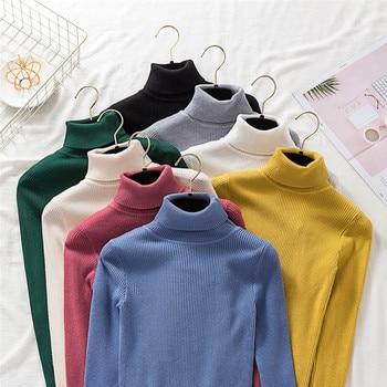 12 cores Novo Outono Inverno Mulheres senhoras com nervuras gola alta Femme Moda Slim Jumper Elasticidade Pullovers Malha tarja Jersey 1