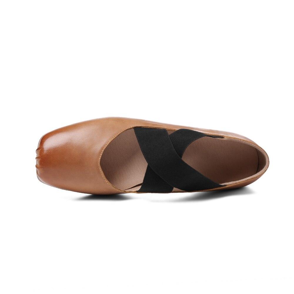 Femme Chaude Chaussures light Brown Partie Profonde 40 Peu Véritable Ballerines Cuir 2018 Taille Bout 34 Casual En Noir Mode Carré Asumer Femmes IdqtI