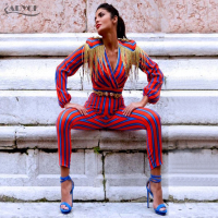 Adyce 2017 New Fashion Runway Jumpsuits Women Long Sleeve Red Blue Striped Tassel Bodysuit Bodycon Slim