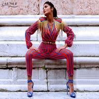 Adyce 2017 New Fashion Runway Jumpsuits Women Long Sleeve Red Blue Striped Tassel Bodysuit Bodycon Slim