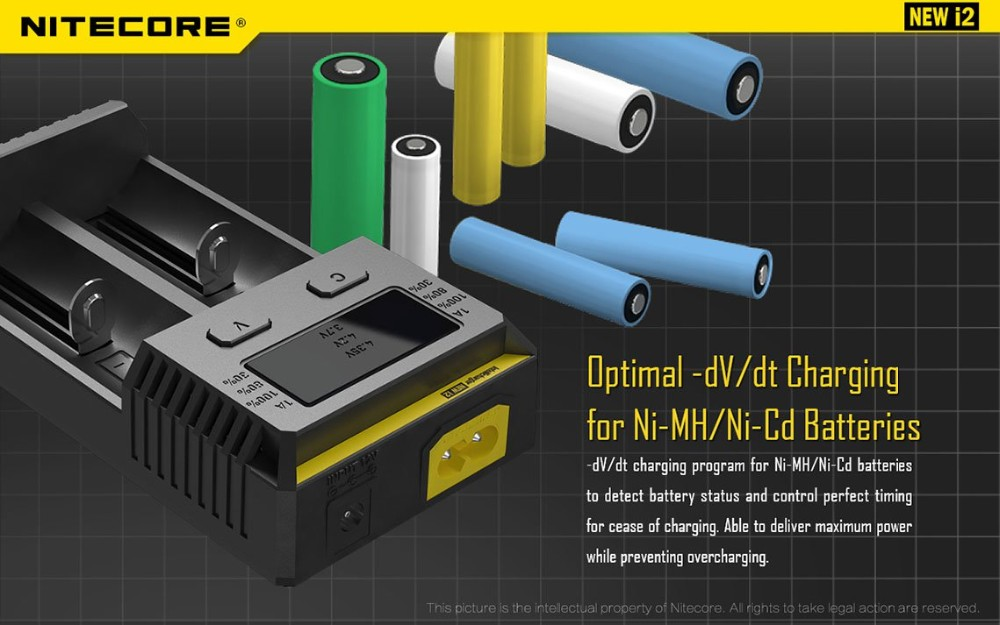 100% Original Nitecore i2 Battery Charger New i2 for 16340 10440 AA AAA 14500 18650 26650 Battery Charger Universal Charger-4