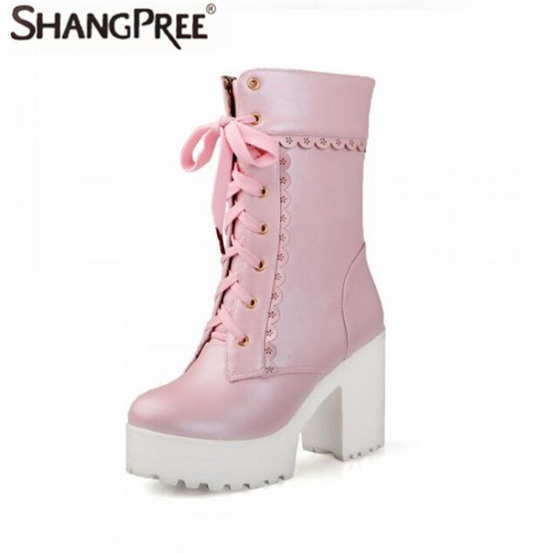 2017 Fashion Women Martin boots women Round Toe Square High Heels Ankle Boots Lace-Up Handmade Ladies Boots Size 35-43 women ankle boots 2016 round toe autumn shoes booties lace up black and white ladies short 2017 flat fashion female new chinese