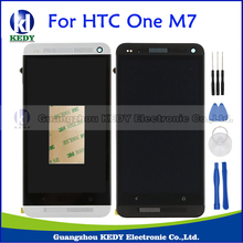 Black Silver For HTC ONE M7 Dual Sim 802w 802d 802t LCD Display Touch Screen Digitizer Assembly+Bezel Frame Repair Parts+Tools