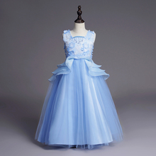 new baby girl clothes Birthday party Stage performance Sleeveless Lace girl dress long Wedding presiding girl princess dress ht0032 new fashion diamond bow double lace performance birthday pompom dress girl evening party dress