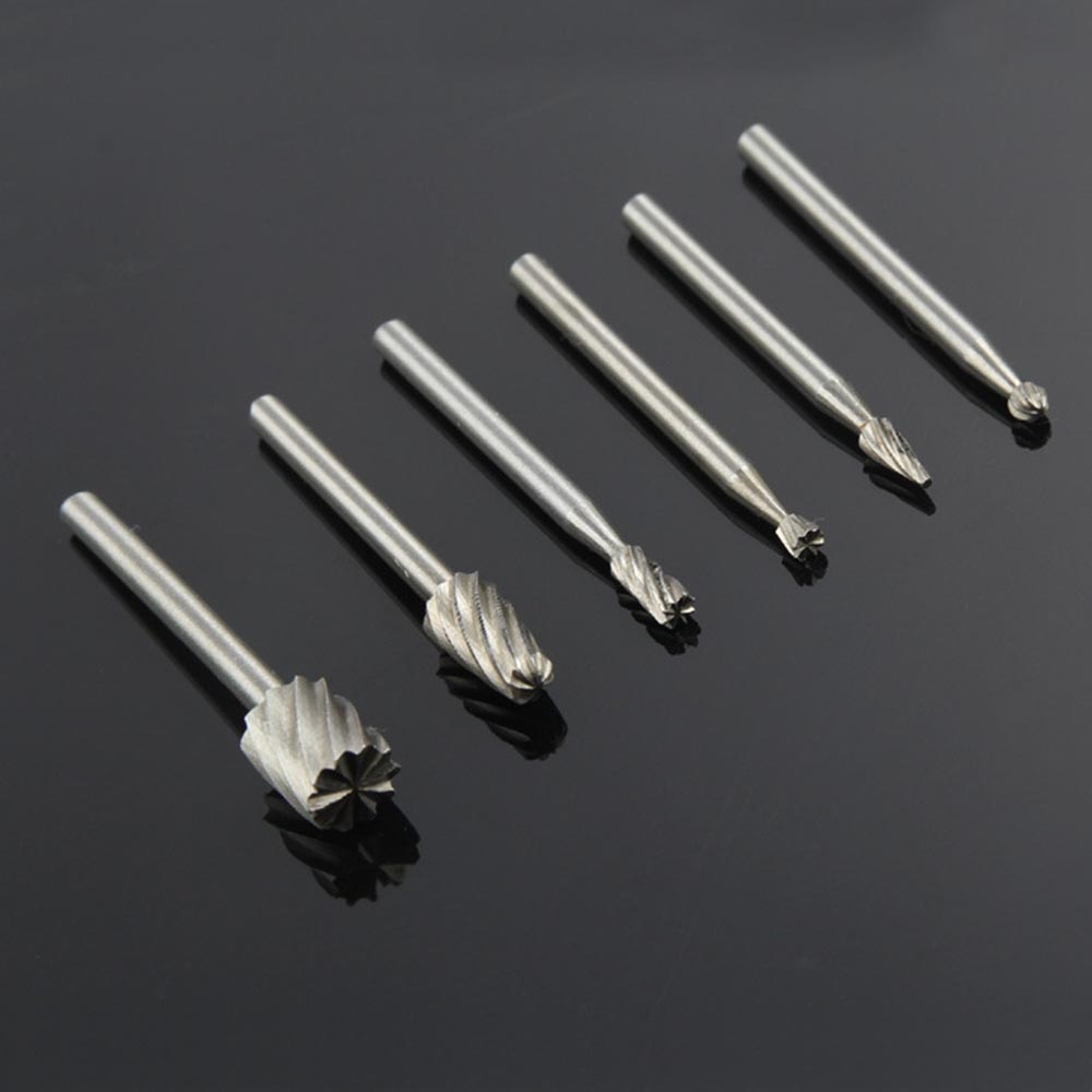 6pcs Dremel Rotary Tools HSS Wood Milling Burrs Cutter Set DREMEL Accessories MultiPro Drill's Special Seat Rotary Burrs Set