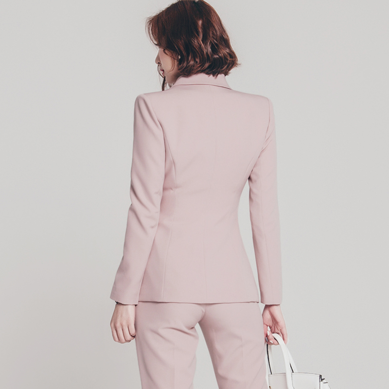 Pink one Button Women Business Suits women pants shirt fashion sexy slim fit pant suit
