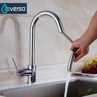 EVERSO Kitchen Faucet Put Out Brass Sink Mixer Tap Kitchen Tap Spray Head Deck Mounted 360