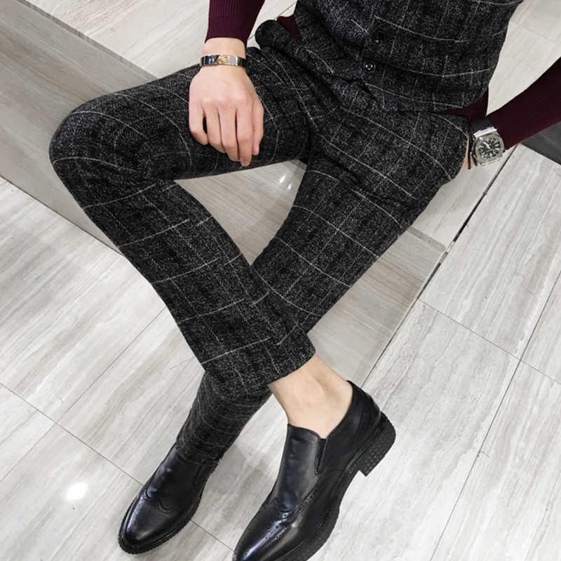 Winter Thick Suit Pants Men Slim Fit Fashion Plaid Dress Pants Plus Size Business Formal Wear Mens Trousers Party Pant 5XL-M Hot