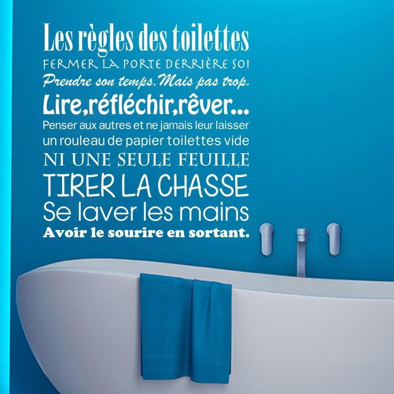 Kililaya Stickers Muraux Les Regles Des Toilettes vinyle WC Stickers Muraux salle de bain décoration affiches