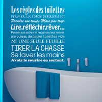 Toilettes Kililaya Adesivos Muraux Des Les Regles Vinil WC Decalques de Parede Do Banheiro Decoração Cartazes
