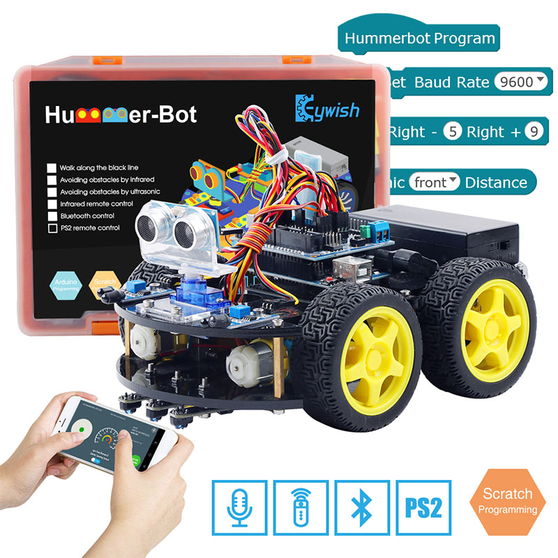 Keywish 4WD Robot Cars for Arduino Starter Kit Smart Car APP RC Robotics Learning Kit Educational STEM Toy Kid Lesson+Video+Code-in Integrated Circuits from Electronic Components & Supplies