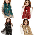Coolbeener New Stylish Girl Long Soft Silk Chiffon Scarf Wrap Polka Dot Shawl Scarve For Women Dec6