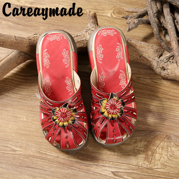 Careaymade-Folk style Head layer cowhide pure handmade Carved shoes,the retro art mori girl shoes,Women's Fashion casual Sandals