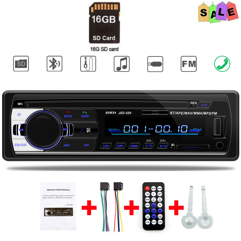 Car Radio 1 Din Bluetooth Tuner Stereo In-dash FM AUX Usb MMC WMA TF Auto Audio Mp3 Player Autoradio ISO Hands Free image
