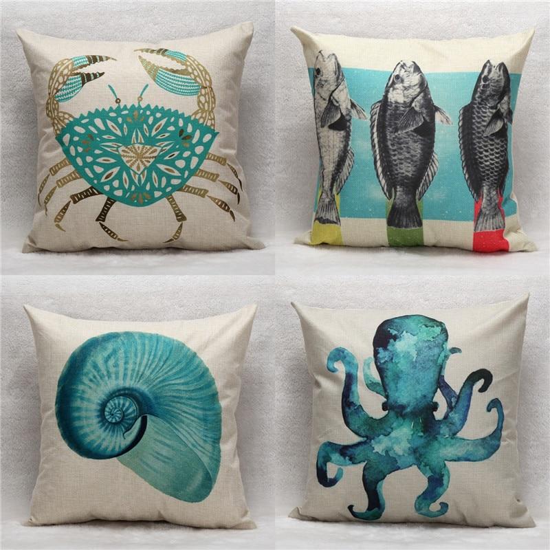45x45 Cm Crab Ryby Octopus Muszla Drukuj Poszewki Na