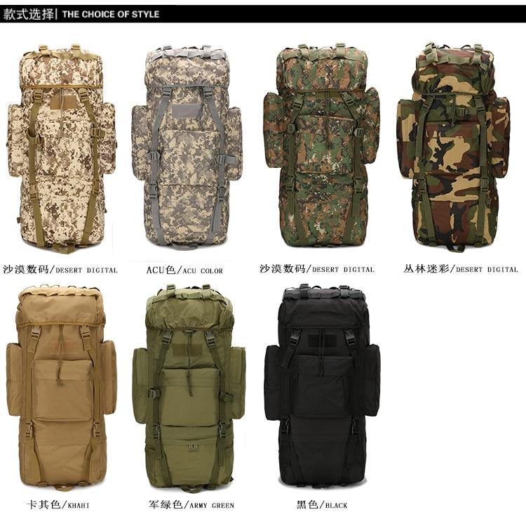 Woodland digital Knapsack ACU Camouflage 65l Mountaineering Bag Tactical Military Men Outdoor Large-capacity Travel Backpack tactical outdoor one shoulder knapsack bag coyote tan 28l