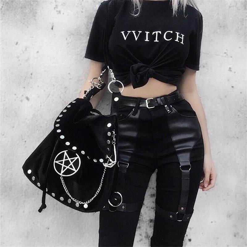 Black Pencil Pants Women Gothic Punk Rock PU Leather Patchwork Long Trousers Streetwear Kpop Joggers High Waist Skinny Pants