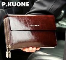 P. KUONE Luxus Glänzend Öl Wachs Rindsleder Männer Handtasche Lange Echtem Leder handtaschen männer brieftasche Doppelschicht Business handtaschen