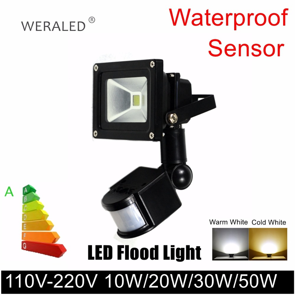 Outdoor LED Flood Light with sensor 110V 220V Outdoor led Garden Wall Yard Path Light Waterproof LED Flood Spot Light