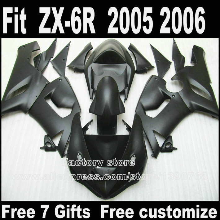 Plastic fairing kit for Kawasaki ZX6R 2005 2006 ZX-6R 05 06 Ninja 636 all matte black fairings bodywork set LK47 fit for kawasaki zx 6r 2000 2001 2002 high quality abs plastic motorcycle fairing kit bodywork zx6r 00 01 02 cb4