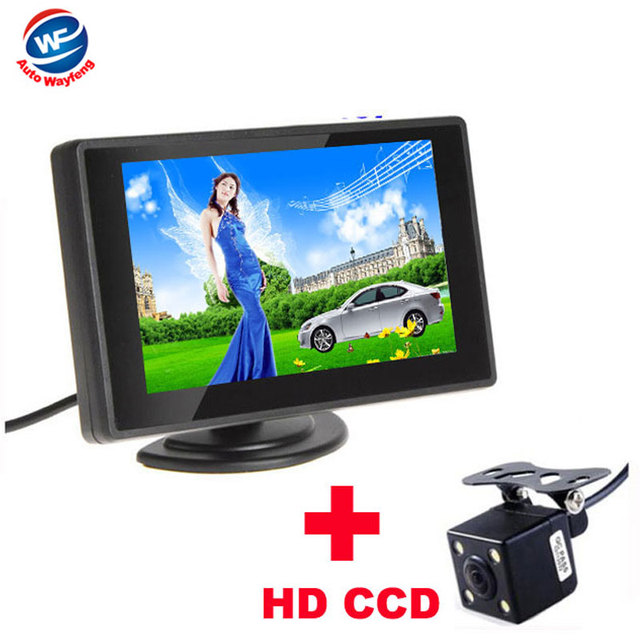 Waterproof 480TVL 2.8mm 170 Lens Angle CMOS Car Rearview Parking Camera With 4.3 Inch TFT LCD Monitor For Reversing Backup Cam