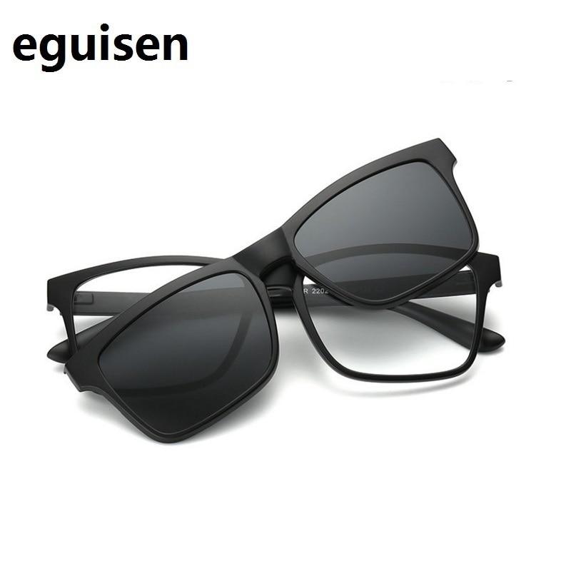 Width-140 TR90 Retro Magnet Polarized Clip Myopia Sunglasses Eyeglasses Frame Set Men Women Eyewear Magnetic Clip Glasses Frame