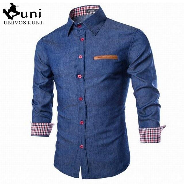 2016 New Brand Men's Denim Shirts Long Sleeve Turn-down Collar Fashion Slim Fit Style Dark Jeans Men Shirt European Size DHY3151