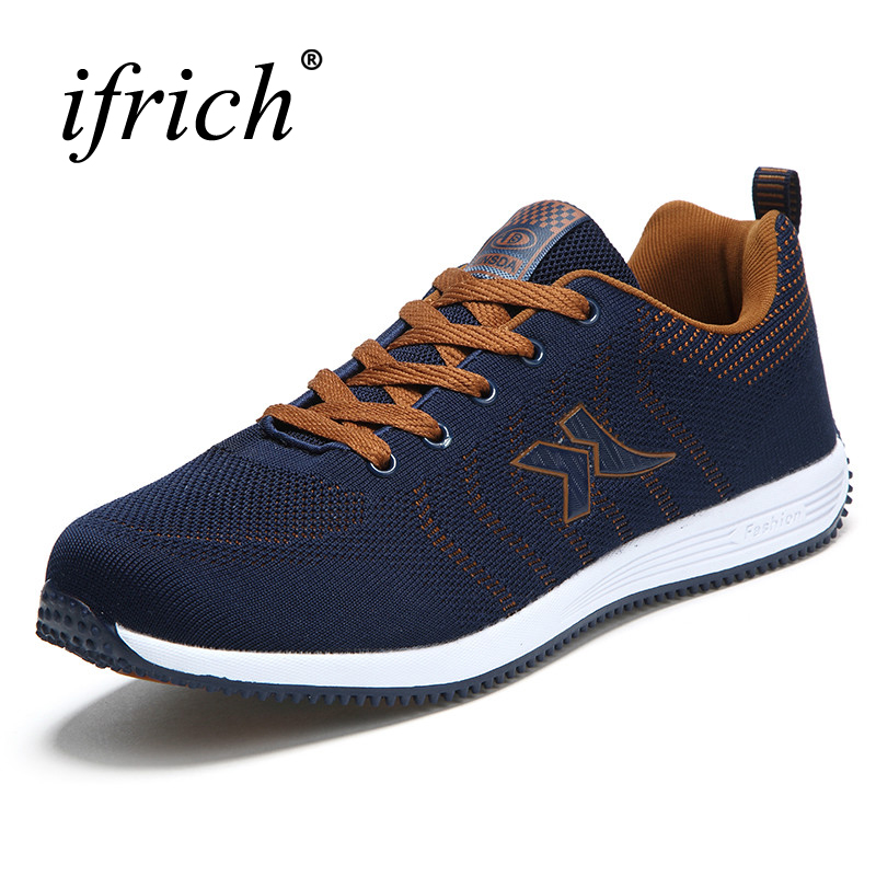 Ifrich 2017 Summer Men Shoes Sport Running Sneakers Black Brown Mens Sports Trainers Breathable Summer Men Sneakers Cheap