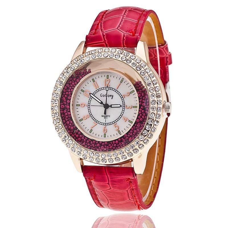 c9d5e2b660d8 Nuevo reloj de cuarzo mujeres gogoey marca de lujo de cuero relojes señoras moda  casual populares oro relogios femininos