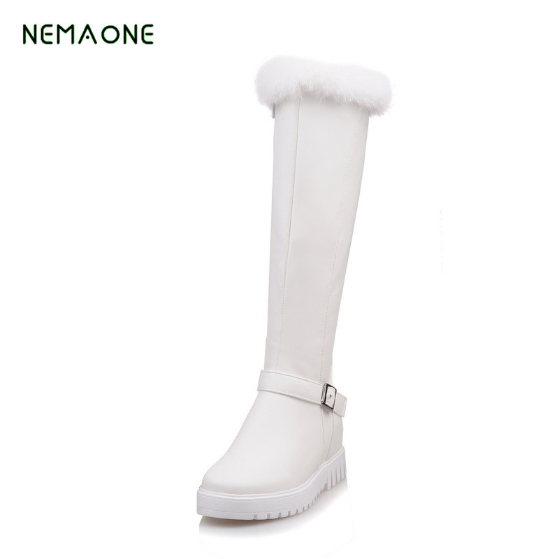 NEMAONE NEW 2018 fashion warm knee high snow boots women round toe soft leather warm down winter thick fur ladies winter shoes nemaone 2017 new fashion russia keep warm snow boots round toe platform knee high boots winter shoes women boots