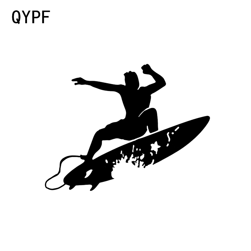 QYPF 14.1*10.9CM Funny Surfing Wave Hawaii Decor Car Sticker Vinyl Silhouette Extreme Movement C16-0738