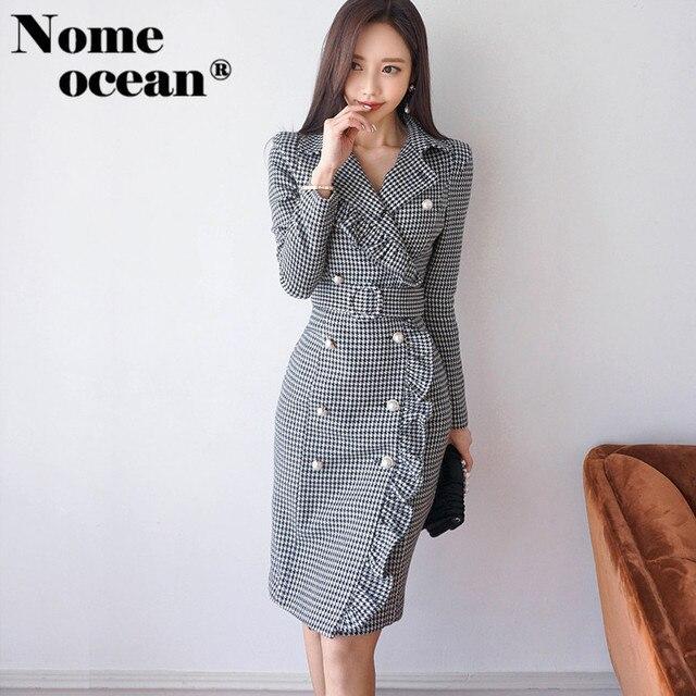 734e0ef1b88f Blazer Dress Belted Waist Slim Office Lady Houndstooth Long Sleeve Dress  Double Breasted Beaded Plaid Women s Dresses M17122907