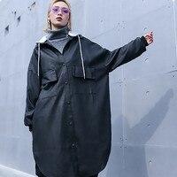 2019 Women's new Style Spring Fashion Hooded Long Sleeve Black Loose Pu Leather Pocket Stitch Windbreaker