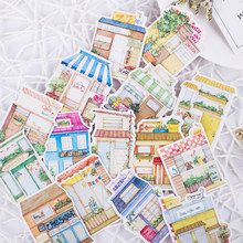 15pcs Kawaii Japanese house shop store building dining car Decoration Stationery Sticker Diy Ablum Diary Scrapbooking Stationery(China)