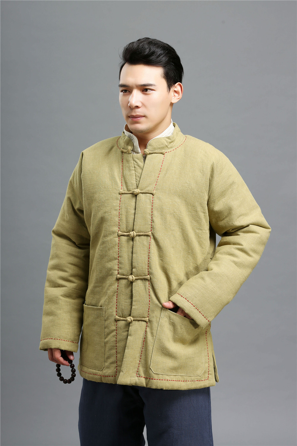 2015 Autumn winter 2 colors vintage cotton linen mens coat Cotton-padded clothes embroid ...