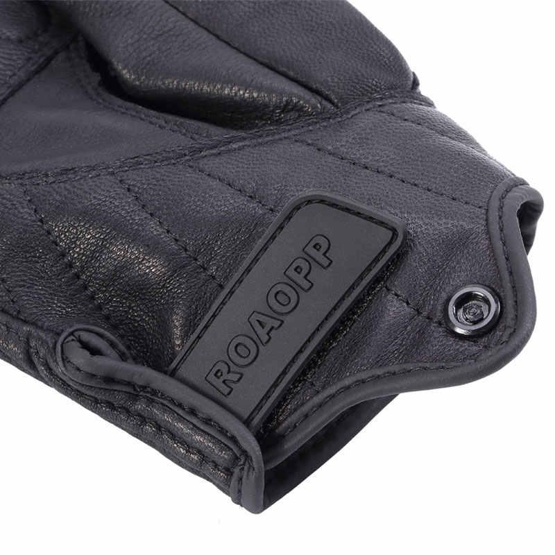 レトロオートバイ手袋追求穿孔本革レザータッチスクリーン男性女性防水手袋モトクロスグローブ