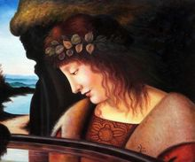 Narcissus by Leonardo Da Vinci Handpainted