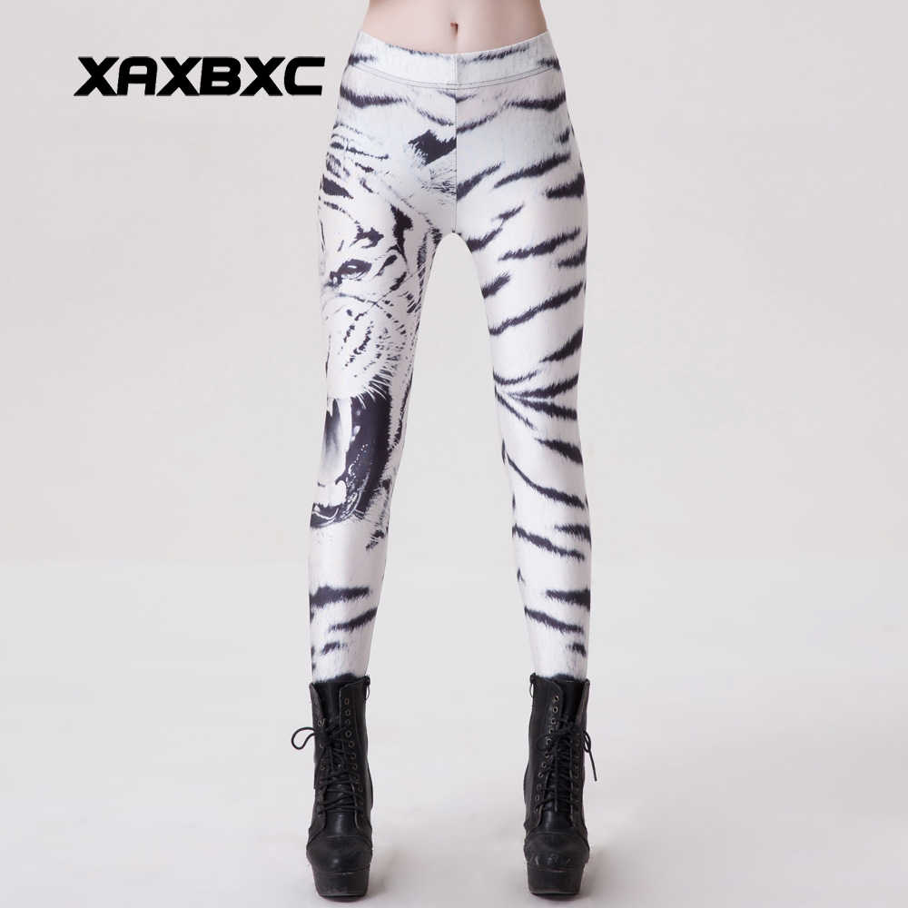 d8e93694a49d5 New 9070 Sexy Girl Workout Pencil Pants White Tiger Stripe Beast Unicorn  Printed Elastic Slim Fitness