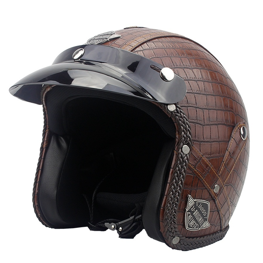 Free shipping 1pcs 3/4 Open Face Motorcycle Harley style Motorbike capacete Moto Leather Scooter Vintage Motorcycle Helmet free shipping beon new fashion motorcycle half face summer moto helmet breathe four seasons authentic harley motorbike capacete