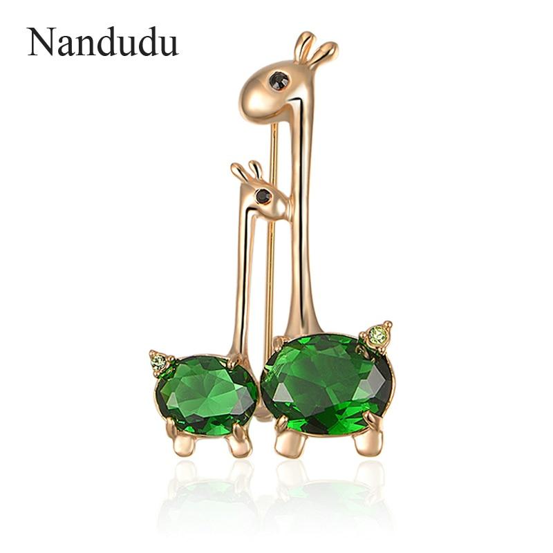 Nandudu Green Cubic Zirconia Brooch Pin Animal Giraffe Sweet Mother-baby Austrian Crystal Brooch Accessories Gift Hot Sale X217