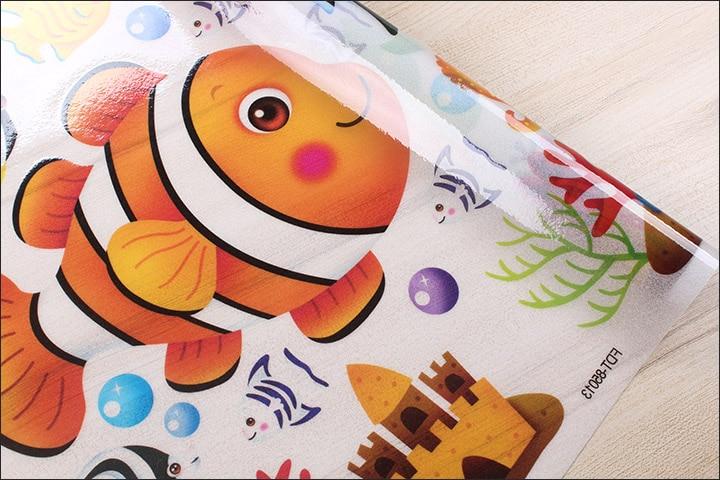 Customized cartoon fish glueless electrostatic glass film balcony bathroom glass sliding door frosted stickers decorative film in Decorative Films from Home Garden